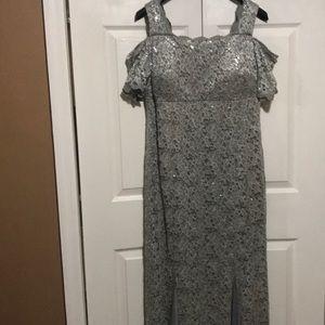 Grey lace long dress